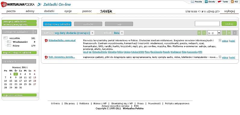 Prosta organizacja ulubionych stron z Zakładkami On-line WP 1